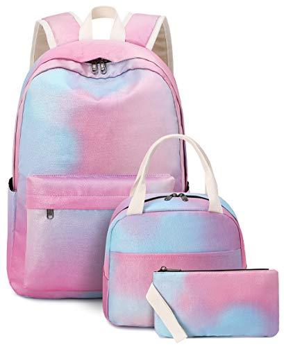 Girls School Backpack Galaxy Schoolbag Laptop Bookbag Insulated Lunch Tote Bag Purse Teens Boys Kids (Pink blue galaxy)