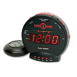 Sonic Bomb Dual Extra Loud Alarm Clock with Bed Shaker, Vibrating Alarm for Heavy Sleepers, Full Range Dimmer, Battery Backup – Black