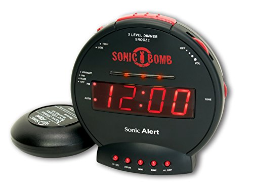 Sonic Bomb Dual Extra Loud Alarm Clock with Bed Shaker, Black | Sonic Alert Vibrating Alarm Clock...