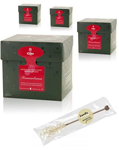 EILLES Tea Diamonds Sommerbeeren Mega-Sparset mit 4 Boxen und gratis Kandisstick von Gourvita Moments