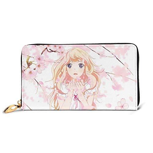 Cuero embrague anime su mentira en abril cartera cremallera mujeres moda monederos bolso teléfono crédito multi tarjeta titular organizador carteras