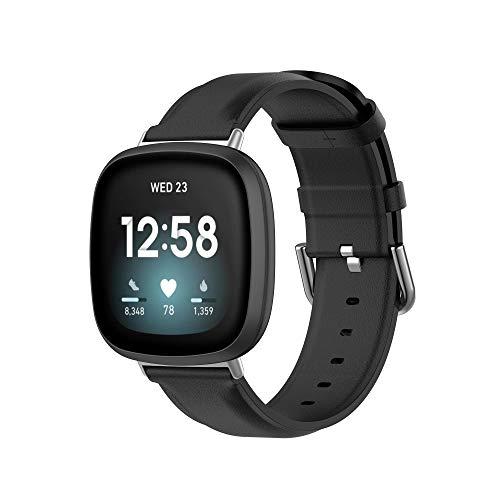 MAKACTUA Rem kompatibel med Fitbit Versa 3 rem/Fitbit Sense rem män kvinnor, läder justera sport fitness armband för Fitbit Versa 3/Sense