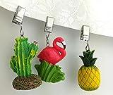 My-goodbuy24 Tischdeckenbeschwerer mit Klammer - 4er Set - Tischdeckenhalter Garten Tischdeckenklammern Tischtuch Clips - Polystone (Wassermelone) - 2