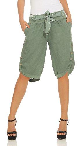 Mississhop 281 Damen Capri 100% Leinen Bermuda lockere Kurze Hose Freizeithose Shorts mit Gürtel und Knöpfen Oliv XL