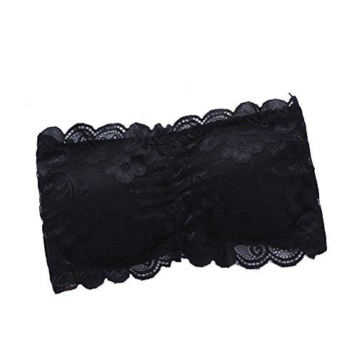 Tinksky Mujeres Strapless de Encaje Bandeau Bra Paded extraíble sin Costura Estriado Bandeau Tube Bra Mujeres (Negro)