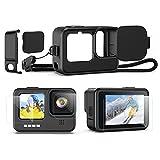 Kit de Accesorios para GoPro Hero 10/Hero 9 Black [10 Piezas], Funda Protectora de Silicona con Cordón + 6 Vidrios Templado para Proteger Lente Pantalla + 3 Tapas Lentes para GoPro 10/GoPro 9 Black