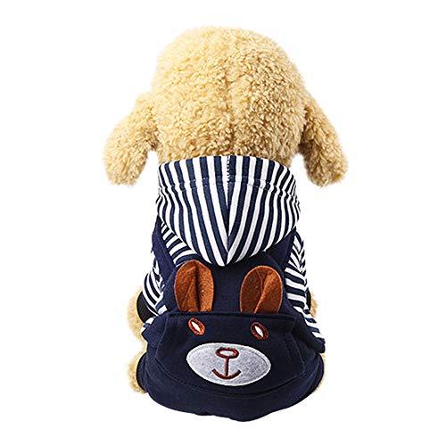 KSITH huisdier hond kleding capuchon jas zak borduurwerk vierbenige beer - met een puppy hond Teddy knop Dongkuan kleine kat gewatteerde kleding - gestreepte sectie, XXL