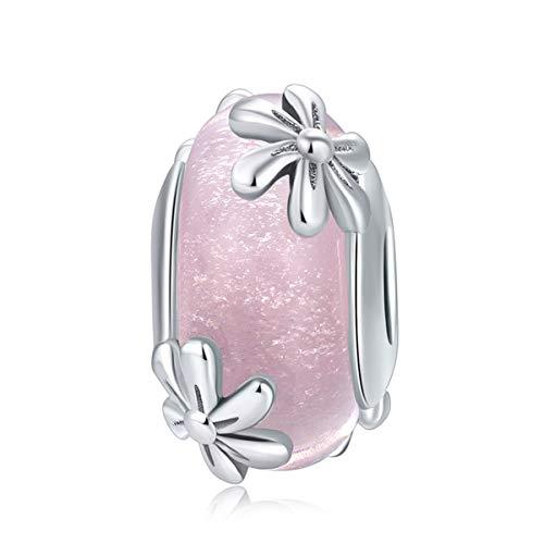 CHENGMEN Flower Charms Pink Murano Glass Beads 925 Sterling Silver Birthday...
