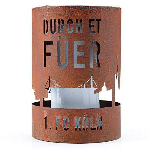 """1. FC Köln LED-Solar Fackelleuchte """"Durch et Füer"""" 14 cm hoch"""