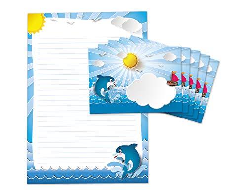 Briefblock mit Umschlag für Kinder Delfin Briefpapier-Set Mädchen Jungen (Block A4 mit 25 Blätter + 15 Umschläge)