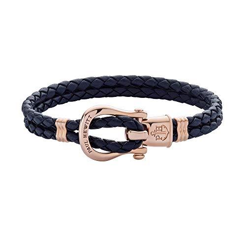 PAUL HEWITT Schäkel Armband Damen PHINITY - Leder Armband Frauen (Marineblau), Armband Damen mit Schäkel Verschluss aus IP-Edelstahl (Rosegold)