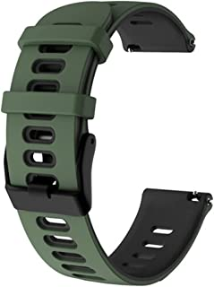 Mortree Silicone Watch Bands- Replacement Sport Band Quick-Release with Pin Double Colors Choose 22mm & 20mm Watch Straps Soft Silicone Replacement Sport Bands (Green/Black 20mm)