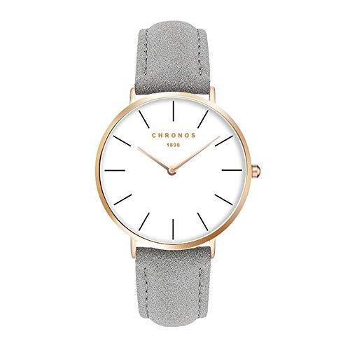Herrenuhren Damenuhren Grau Einfache Armbanduhren für Damen und Herren Lederband