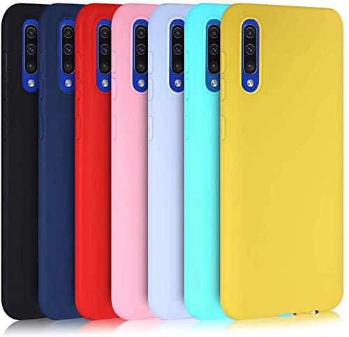 MoEvn 7X Cover per Samsung A50 Custodia, Morbido in TPU Silicone Protezione Case per Samsung Galaxy A50 Smartphone Sottile Opaco Gomma Gel Flessibile Antiurto Cellulare Bumper (7 Colori)