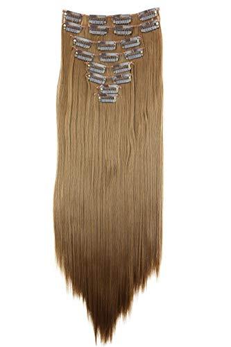 Prettyshop XXL Set de 8piezas de extensiones de pelo clip de 60 cm, resistentes al calor, lisas