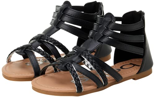 bebe Toddler Girls? Sandals ? Leatherette Strapped Gladiator Sandals with Heel Zipper (Toddler) (7 M US Toddler, Black)