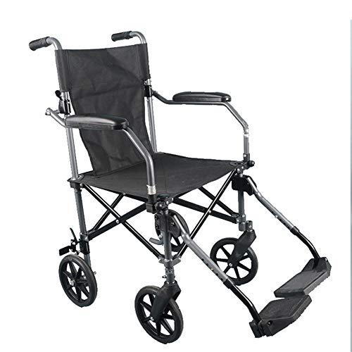 WLIXZ Manueller Rollstuhl, klappbarer tragbarer Transportrollstuhl aus Aluminiumlegierung, Feste Arme