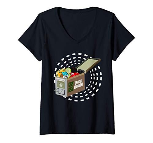 Mujer Geocaching Encuentra GPS Geocache Juego Geocacher Búsqueda Camiseta Cuello V