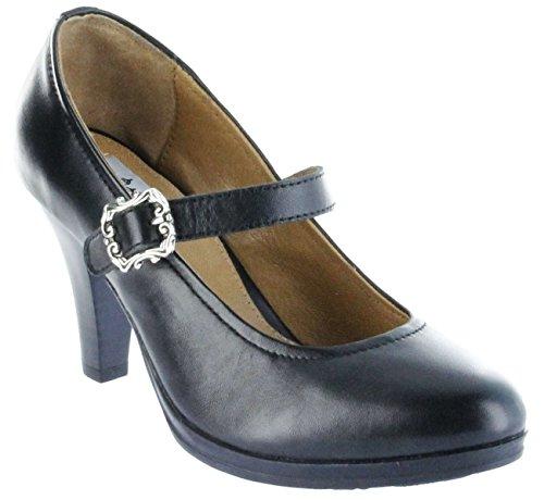 Bergheimer Trachtenschuhe Trachten Pumps schwarz Leder Damen Schuhe Bärbel, Größe:40 EU, Farbe:schwarz