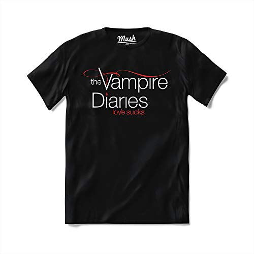 MUSH T-Shirt The Vampire Diaries - Serie TV - 100% Cotone Organico, X-Large Uomo, Nero