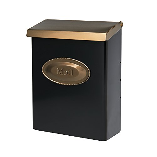 Gibraltar Mailboxes Designer Locking Medium Capacity Galvanized Steel Black, Wall-Mount Mailbox, DVKGB000