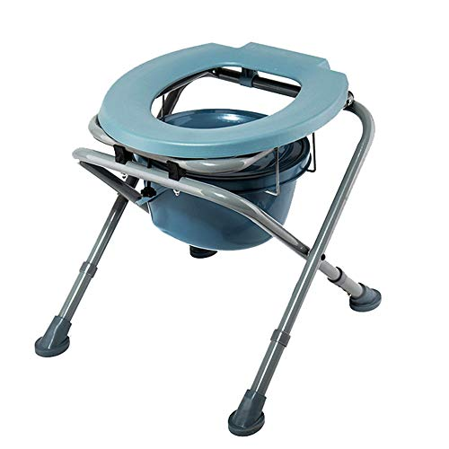 Aly Kopfende Commode Stuhl einfachen Falten Klobrille Anti-Skid verstellbare Sitzschablone ohne Armlehne mit Deckel Barrel -180kg (396lb)