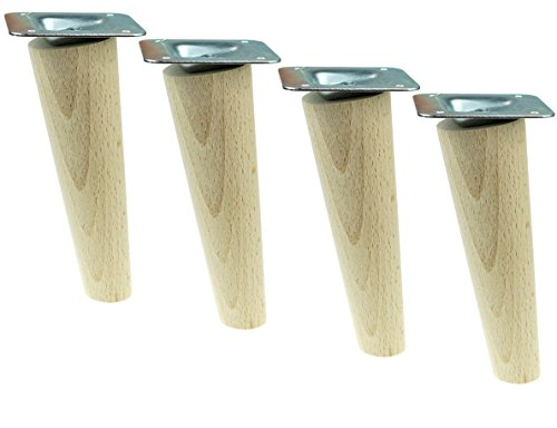 4x Holzfüße,Möbelfüße, Sofafüße Buche, Zubehör L.10 cm schräg Holz (H-150 Schräg)