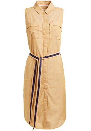 Khujo Zala damesjurk van puur katoen met borstzakken en knoopsluiting knielange zomerjurk