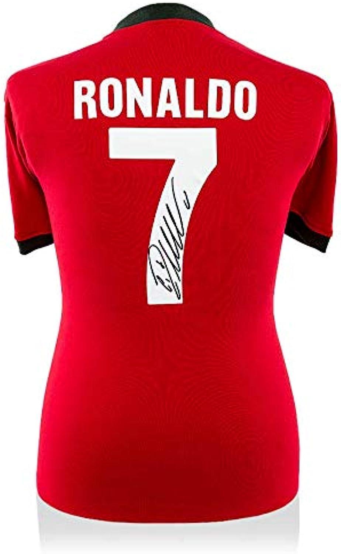 Icons  Cristiano Ronaldo Back Signed Retro Portugal Shirt