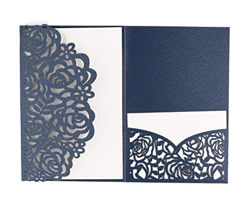 DriewWedding 20 pcs Wedding Invitations,Blue Laser Cut Lace Invitation Card for Bridal Baby Shower, Quinceanera,Christmas, Birthday Party with Envelope, Ribbons & RSVP Card