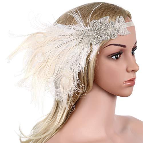 BABEYOND Damen Stirnband Flapper 1920s Stil Stirnband mit Pfau Feder Inspiriert von Der Große Gatsby Party Accessoires für Damen