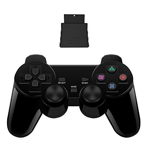 PS2 Wireless Controller 2.4G, Double Shock Dual Vibration Twin Shock Gamepad for Sony Playstation 2,