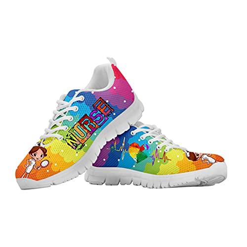 Showudesigns Calzados para Correr En Asfalto para Mujer Zapatillas De Running Enfermero Modelo Zapatilla Mujers Deporte Zapatos para Correr Gimnasio Sneakers Adorable Enfermera Arcoiris EU 39