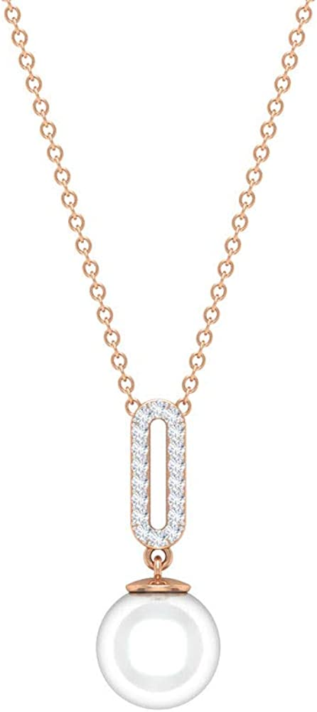 Freshwater Pearl and Diamond Accent Necklace 4.09 CT, Gold Solitaire Pendant (8 MM Round Shaped Freshwater Pearl)