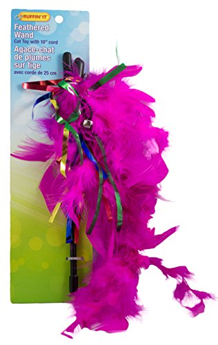 Ruffin It 10-Inch Feathered Teaser Wand Cat Toy, Colors Vary