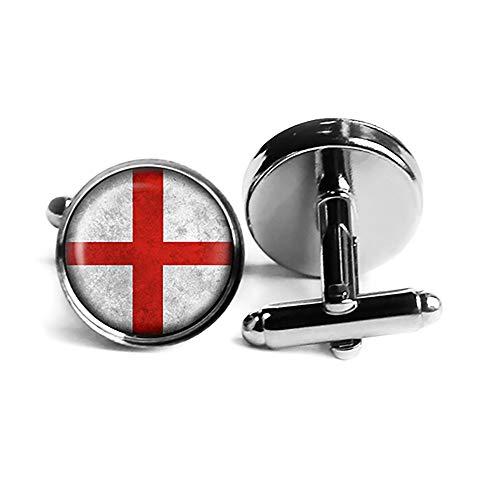 England English Flag Englische Flagge Rhodium Silber Manschettenknöpfe