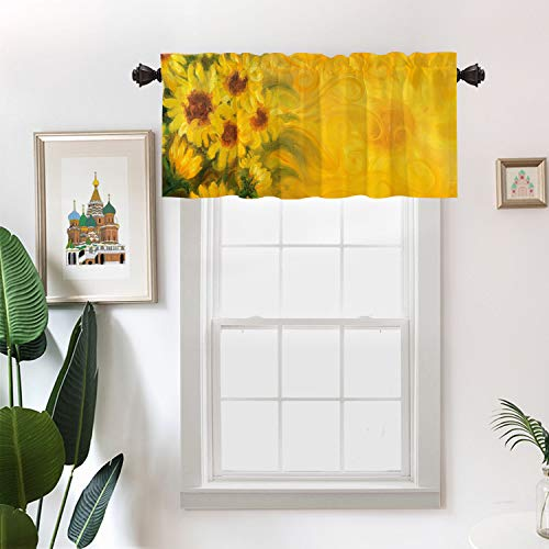 Batmerry Sun Yellow Abstract Art Kitchen Valances Half Window Curtain, Yellow Nature Sunny Sunflowers Oil Painting On Canvas Kitchen Valances for Bedroom Heat Insulated for Decor 52x18 Inch
