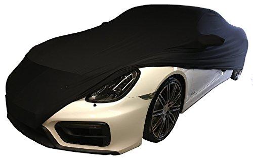 LEDmich Super-Soft Indoor Car Cover Stretch Auto Schutz Hülle für Porsche Cayman GT4, 981, 718, S R GTS schwarz Abdeckung Stoff Garage Abdeckplane Schutzhülle Abdeckung