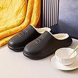 QPPQ Cómodas Pantuflas de algodón,Zapatillas de casa de otoño e Invierno, Zapatillas de algodón de Terciopelo y silenciosas-negro-40/41,Pantuflas de algodón Lavables