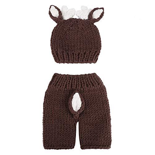 Atyhao Baby Fotografie Requisiten, niedlichen Neugeborenen Baby Foto Requisiten Häkeln Hirsch Hut Bodysuit Fotografie Requisiten Kostüm Neugeborenes Mädchen Fotoshooting Outfits