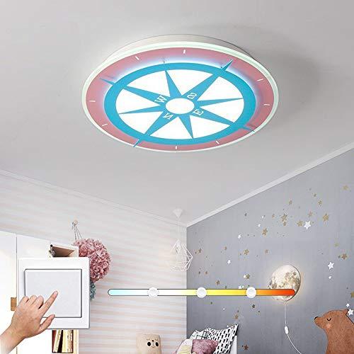 HIL Scandinavisch Simpel Plafondlamp Kind Rond Plafondlamp Kompas LED-Kroonluchter Modern Slaapkamer Creativiteit Kompas Slaapkamer Plafondlamp Woonkamer Geleid Licht Macaron Lampen,Tricolor dimming
