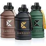 Khroom Borraccia 1,3-2,2 Litri Acqua | XXL Bottiglia in Acciaio Inox | Sportiva in Acciaio con...