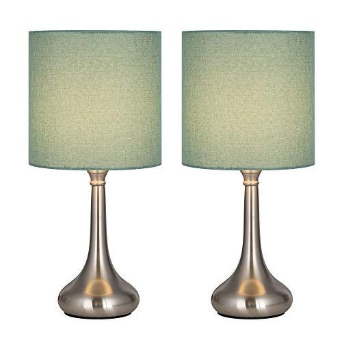 Juego de 2 lámparas de mesilla, pantalla de tela verde de lágrima cromada Lámparas de mesita de noche modernas de metal para habitación de niñas, dormitorio, sala de estar