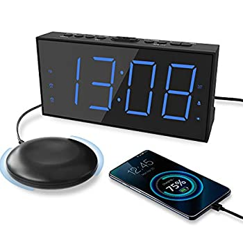 Extra Loud Alarm Clock with Bed Shaker Vibrating Alarm Clock for Heavy Sleepers Hearing Impaired Deaf Teens Dual Alarm Clock with 7.5'' Large Display USB Charger Dimmer Snooze & Battery Backup
