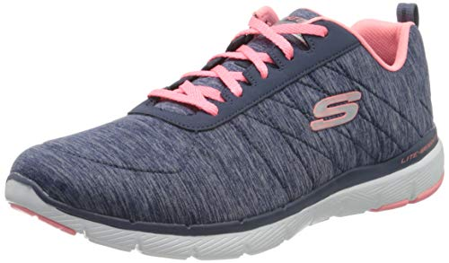 Skechers Flex Appeal 3.0-Insiders, Zapatillas Deportivas Mujer, Multicolor (NVCL Black & Gray Mesh/Black Trim), 39 EU