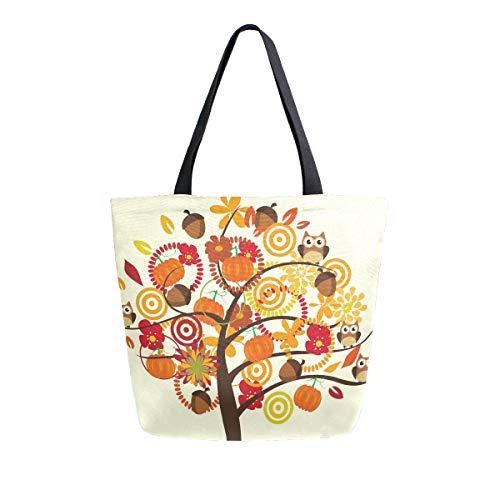 MNSRUU Eule Vogel Herbst Ahornblatt Pumkin Lebensmittel Wiederverwendbar Damen Große Casual Handtasche Schultertasche für Einkaufen Lebensmittel Reisen Outdoor
