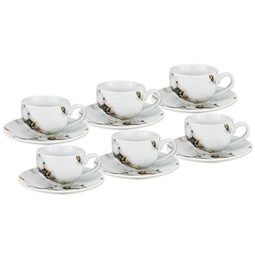 Royalty Porcelain 12pc Marble Tea set White Black, 6 cups, 6 saucers Bone China