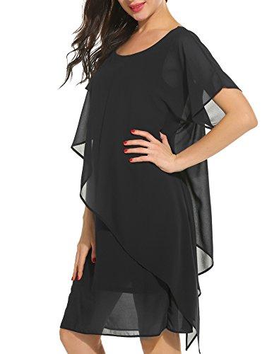 Parabler Damen Chiffonkleid Sommerkleid Freizeitkleid Kurzarm Rundhals Einfarbig Strandkleid mit Asymmertrischem Saum
