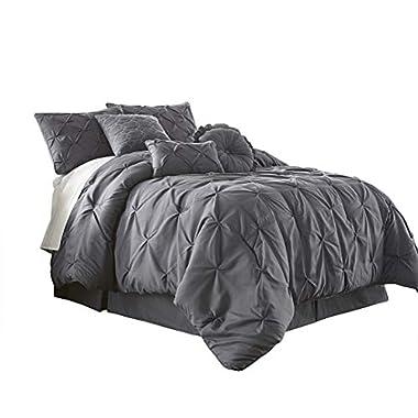 Chezmoi Collection Sydney-Com-Gray-King 7-Piece Pintuck Bedding Comforter Set