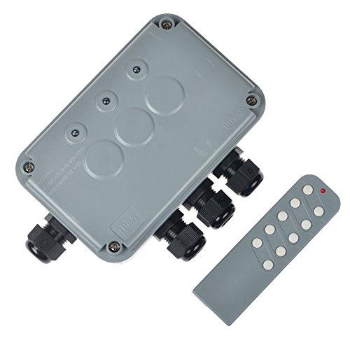 Nineleaf Waterdichte verdeeldoos IP66 weerbestendige behuizing 15A stroomschakelaar afstandsbediening 3 versnellingen universeel type voor buiten 1PK HO-050 grijs.